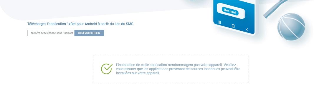 Application 1xBet pour Android APK